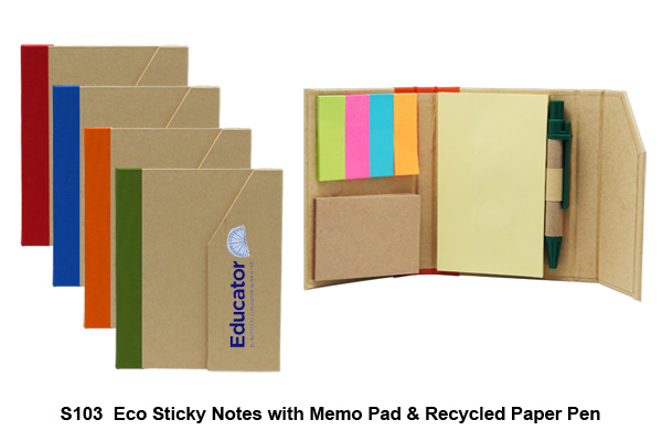 S103 Eco Sticky Notes with Memo Pad & Recycled Paper Pen